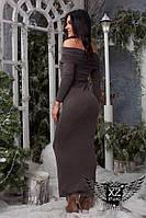 Платье с открытыми плечами в пол красивое