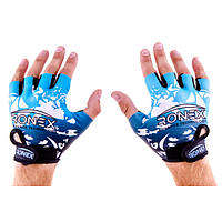 Перчатки для фитнеса Ronex Lycra+Amara RX-09 (синий)