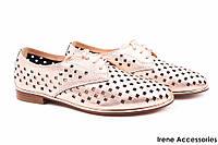 Туфли летние женские Angelo Vani натуральная кожа (комфортные, каблук, бронза, перфорация)