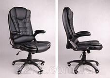 Компьютерное кожаное кресло Veroni черное, фото 3