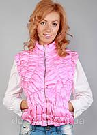 Женская стеганая розовая жилетка