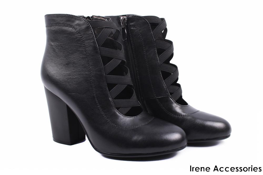d34ce32529c1 Ботильоны стильные Angelo Vani натуральная кожа (ботинки модные, каблук,  черные, нат. ...