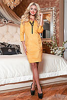 Женское приталенное замшевое платье с вышивкой