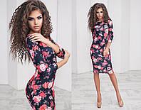 Облегающее трикотажное платье в цветочный принт, фото 1