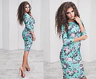 Облегающее трикотажное платье в цветочный принт