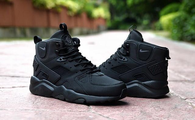 f8a43b44 Описание Кроссовки в стиле Nike Huarache High Top Leather All Black мужские