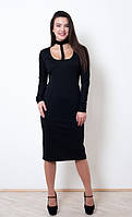 Вечернее черное платье длины миди с оригинальной декорацией в виде чокера