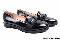 Элегантные туфли женские Molka с бантом лаковая кожа (каблук, черный, комфорт)
