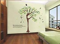 """Наклейка на стену, виниловые наклейки в офис, салон красоты """"дерево-девушка"""" 1м80см*2м30см (2листа 90*60см)"""