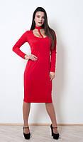 Яркое красное платье приталенного силуэта с завязкой на шею в стиле choker