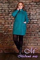 """Элегантное женское пальто батал """"Мелини Donna букле крупное"""" (р. XL, XXL, XXXL) арт. Мелини Donna букле 9227"""
