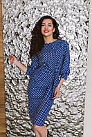 Стильное платье прилегающего силуэта с рукавами-фонариками, декорированное оригинальным принтом.