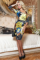 Женское облегающее платье с цветочным принтом + большой размер
