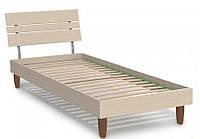 Кровать односпальная Прагматик (ДСП) 0,8х2 дуб молочный, ножки буковые лепесток яблоня