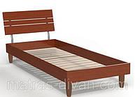 Кровать односпальная Прагматик (ДСП) 0,8х2 яблоня, ножки буковые лепесток яблоня