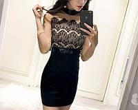 Женское модное платье с кружевом и бантом