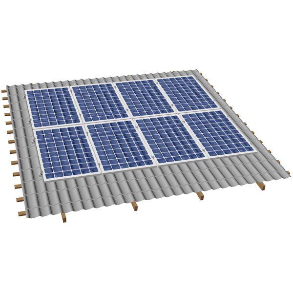 Система крепления солнечных батарей на наклонную крышу для 8-ми модулей