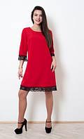 Качественное платье трапеция красного цвета с кружевом