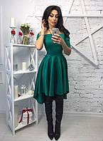 Платье с открытыми плечами, бордовое