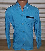 Стильная стрейчевая рубашка для мальчика 6-14 лет(опт) ( бирюза 001) (пр. Турция)