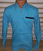 Стильная стрейчевая рубашка для мальчика 6-14 лет(опт) ( бирюза 002) (пр. Турция)