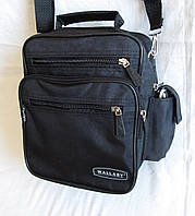 Мужская сумка через плечо Wallaby 2665 цвет черный барсетка деловая 20х25х16см, фото 1