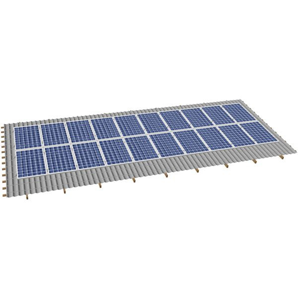 Система крепления солнечных батарей на наклонную крышу для 40-ка модулей