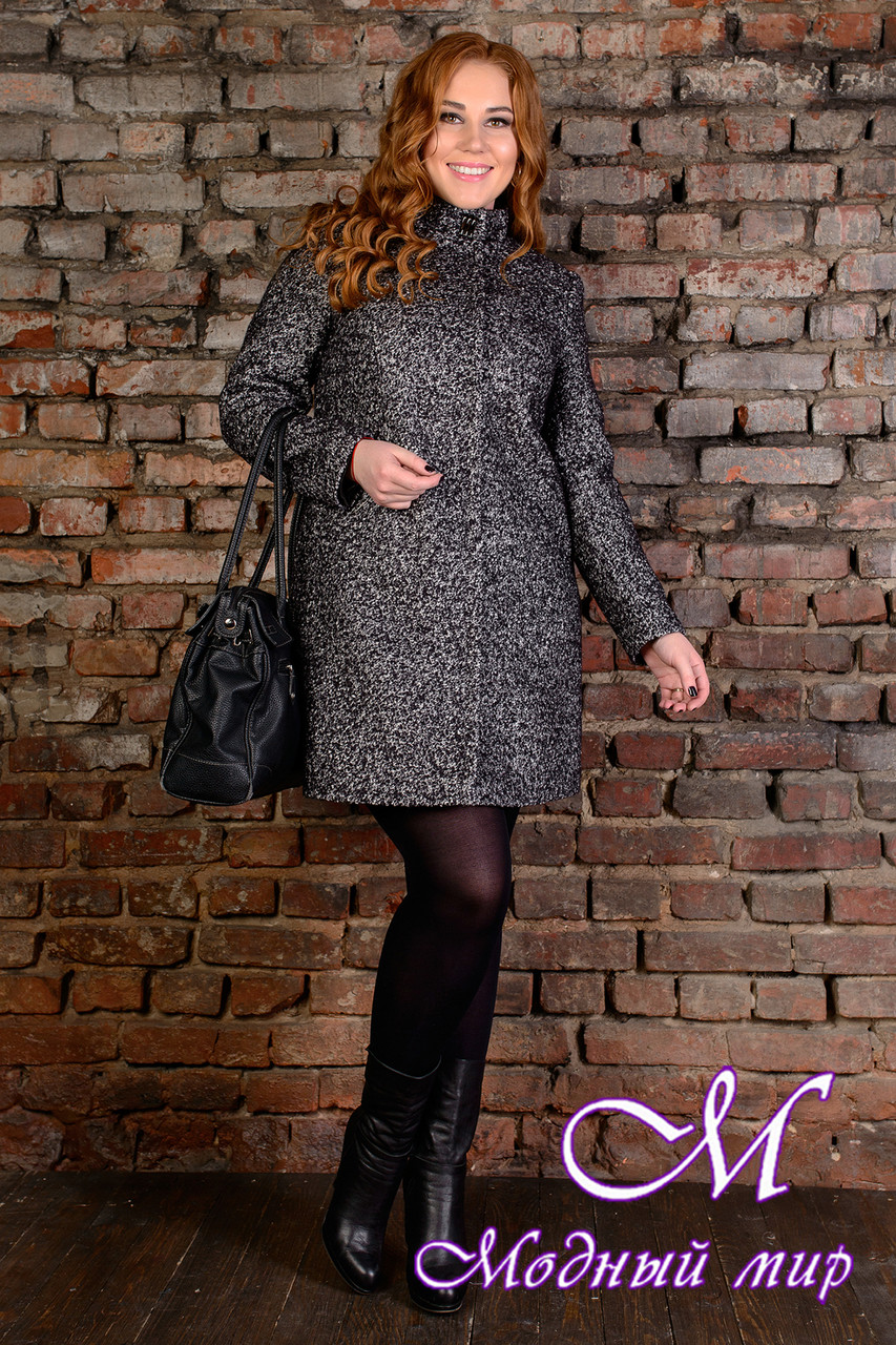 """Женское темно-серое пальто батал """"Сплит Donna букле крупное"""" (р. XL, XXL, XXXL) арт. Сплит Donna букле 9205"""