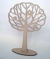 Заготовка дерево с воробьёми и скворечником, 23 см