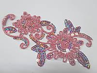 Аплікація з паєтками клейова Аплікація з блискітками клейова (термо) рожеві, фото 1