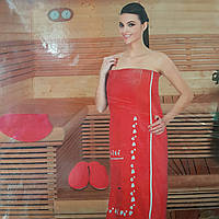 Велюровый женский  комплект для сауны  с тапочками 3 предмета