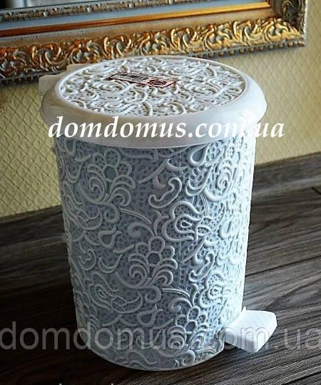 "Ведро для мусора ""Ажур"" 16 л Elif Plastik, Турция, белое"