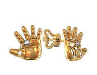 Сережки гвоздики золотые Ручки Младенца