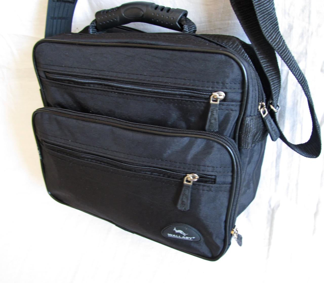 Мужская сумка через плечо обалденный портфель в2407 черный армированная жатка 29х24х16см
