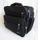 Мужская сумка через плечо обалденный портфель в2407 черный армированная жатка 29х24х16см, фото 2