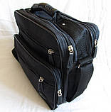Мужская сумка через плечо обалденный портфель в2407 черный армированная жатка 29х24х16см, фото 3