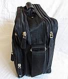 Мужская сумка через плечо обалденный портфель в2407 черный армированная жатка 29х24х16см, фото 4