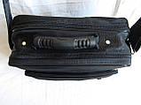 Мужская сумка через плечо обалденный портфель в2407 черный армированная жатка 29х24х16см, фото 5
