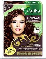 Краска для волос на основе хны Каштановая Dabur VATIKA, 6*10 г