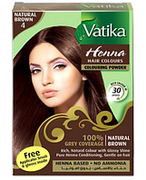 Краска для волос на основе хны Натуральная коричневая Dabur VATIKA, 6*10 г