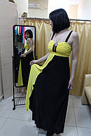 Желтое коктейльное платье длинное в пол, размер 44-50