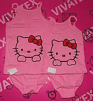 Детская майка с трусами Китти  розовая  для девочки кулир