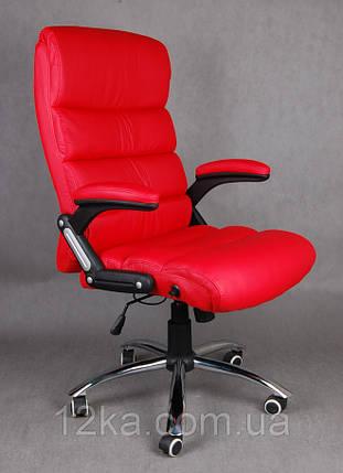 Офисное кожаное кресло Deko раскладное красное, фото 2
