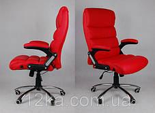 Офисное кожаное кресло Deko раскладное красное, фото 3