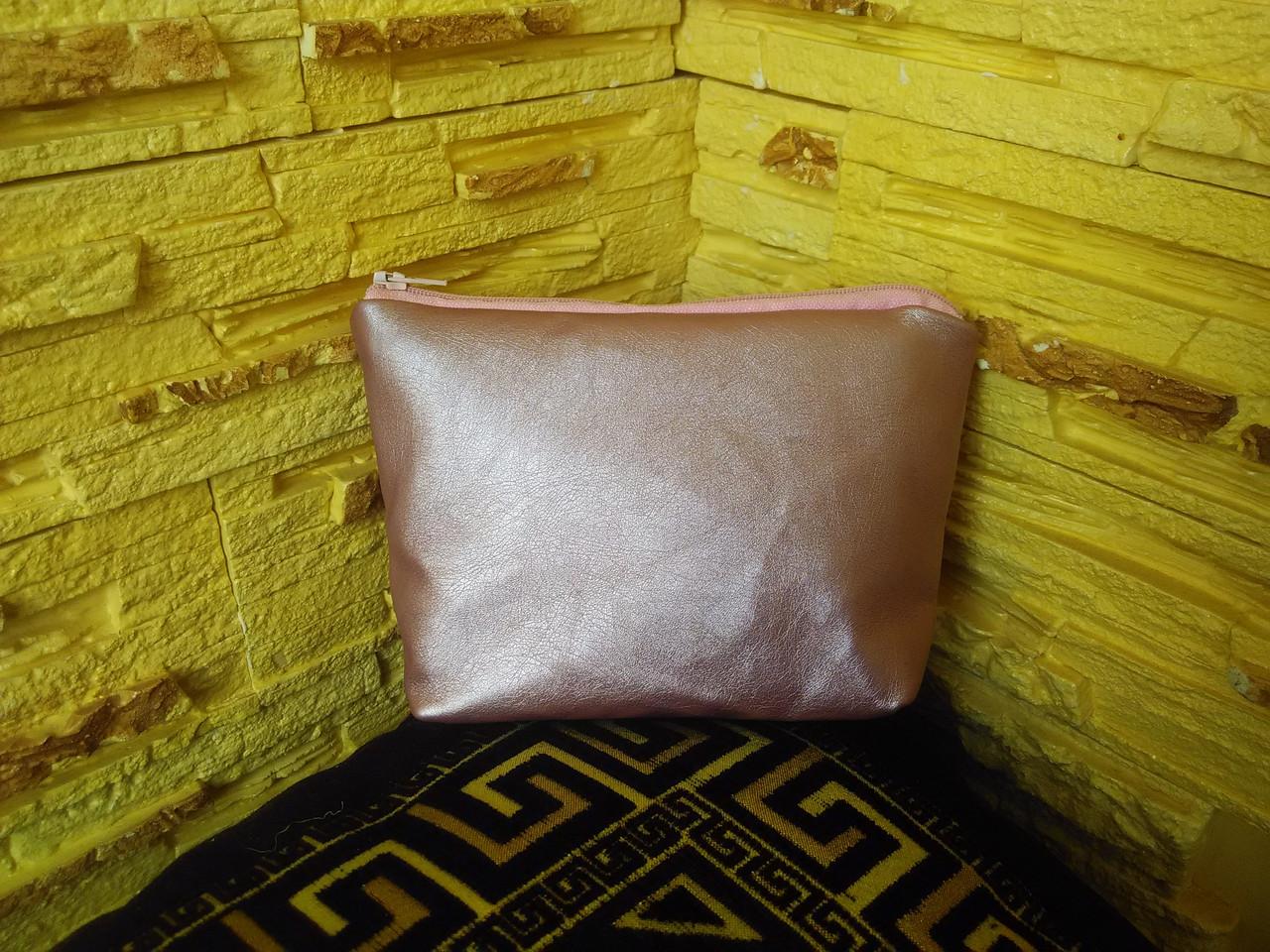 Косметичка розовая из искусственной кожи