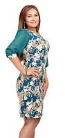 Платье женское 201-5 полубатал цветочный принт рукава фонарики