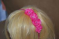 Обруч цветочек со стразами розовый.