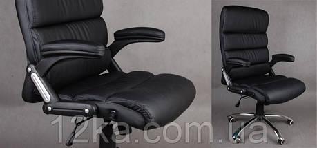 Офисное кожаное кресло Deko раскладное черное, фото 2