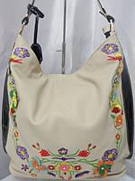 Бежевая сумка с вышитыми цветами Velina Fabbiano