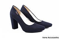 Элегантные туфли женские Zan Zara эко-замш (изысканные, удобная колодка,каблук, синий)